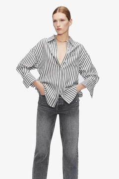 Anine Bing Mika Shirt Grey And White Stripe - Product List Image