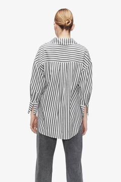 Anine Bing Mika Shirt Grey And White Stripe - Alternate List Image