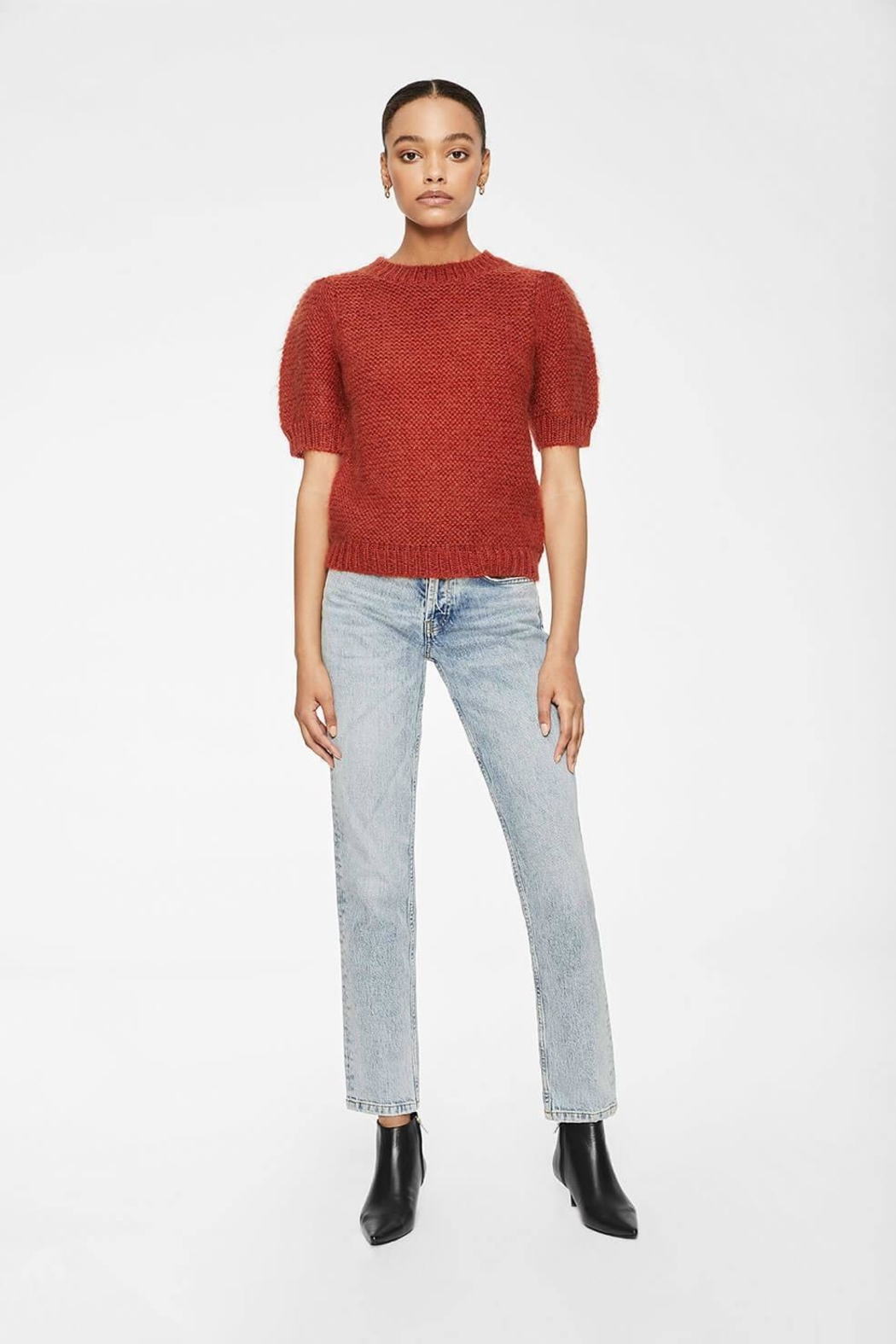 Anine Bing Nicolette Sweater Rust - Side Cropped Image