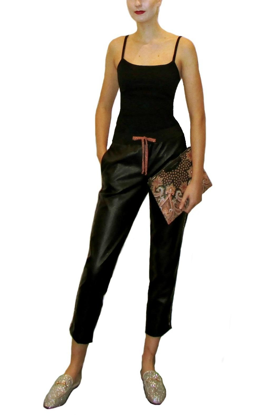 Anisya Black Faux Leather - Front Cropped Image