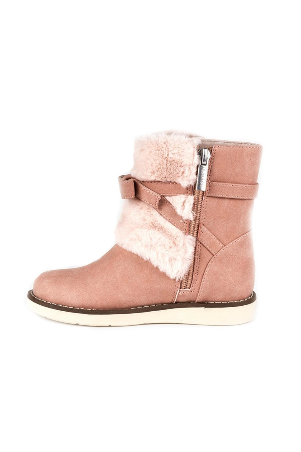 Mayoral Ankle-Boots-In-Pink-With-Faux-Fur-Detailing - Side Cropped Image