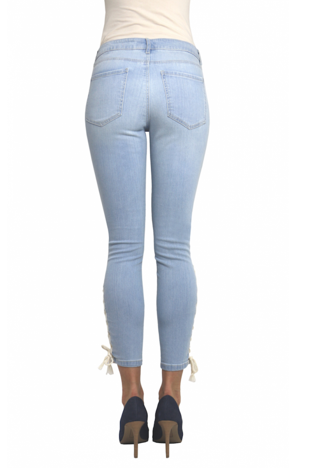 Tractr Ankle Crop Lace Up Hem Jean - Side Cropped Image