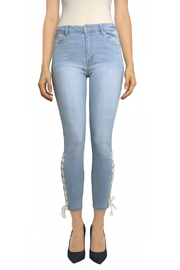 Tractr Ankle Crop Lace Up Hem Jean - Product Mini Image