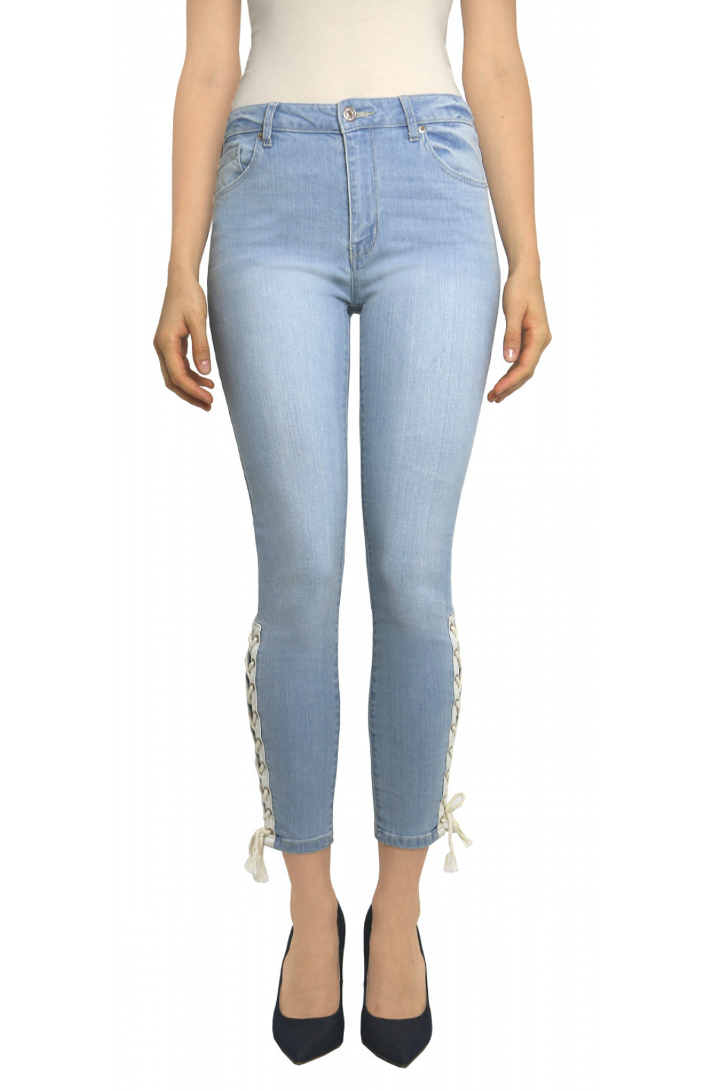 Tractr Ankle Crop Lace Up Hem Jean - Main Image