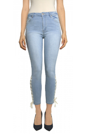Tractr Ankle Crop Lace Up Hem Jean - Front cropped