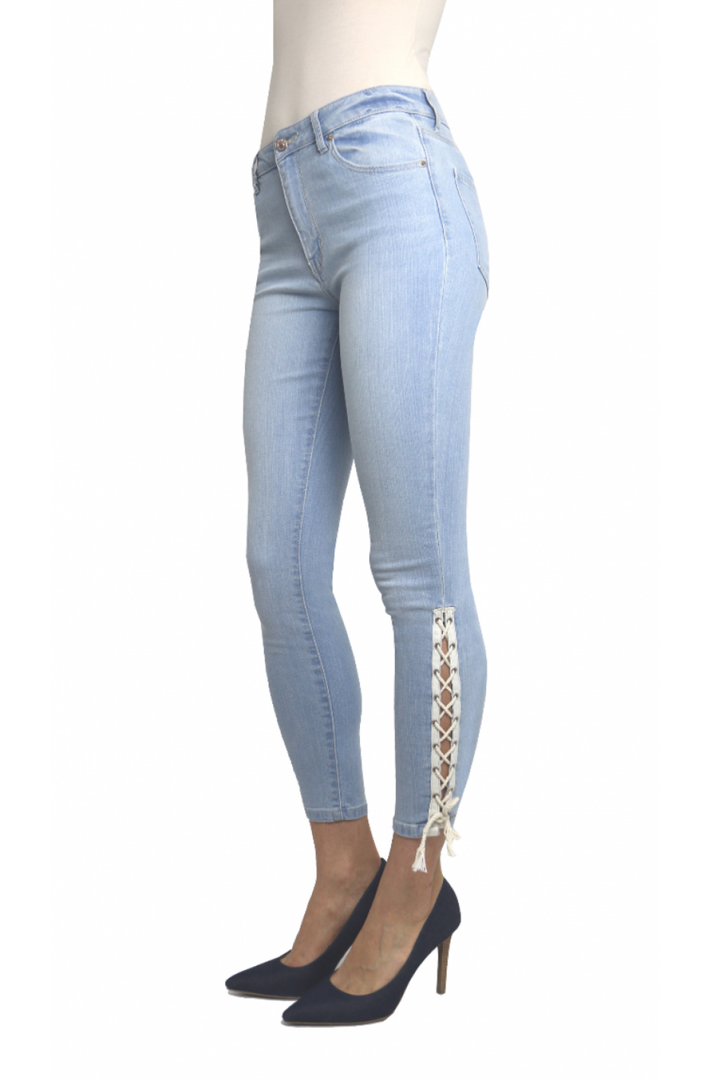 Tractr Ankle Crop Lace Up Hem Jean - Front Full Image