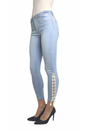 Tractr Ankle Crop Lace Up Hem Jean - Front full body