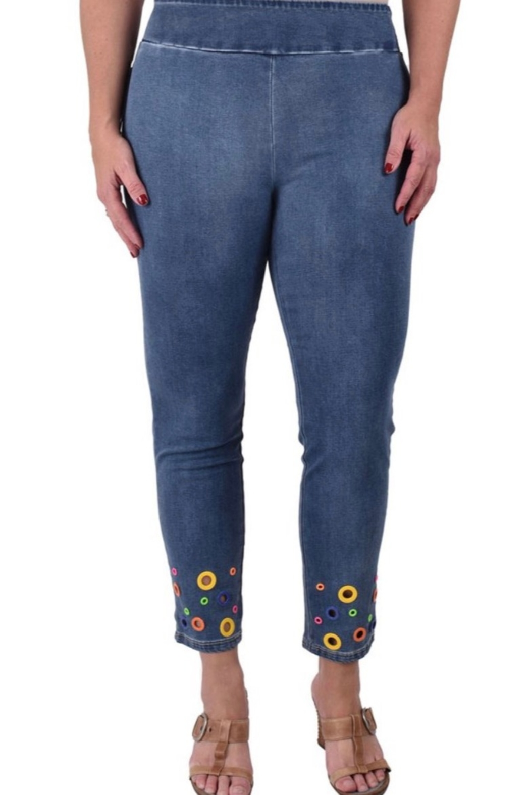 Ethyl Julie Ankle jeans with multi-colored grommets - Main Image