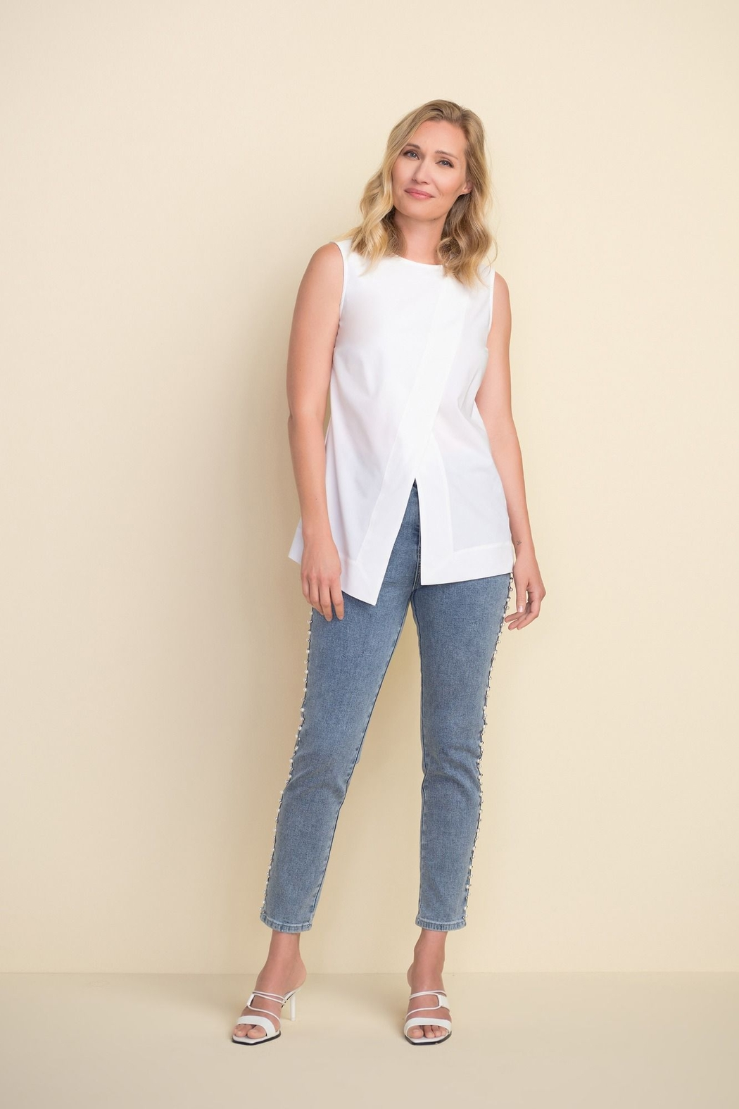 Joseph Ribkoff  Ankle length light denim jeans with beading on sides - Back Cropped Image