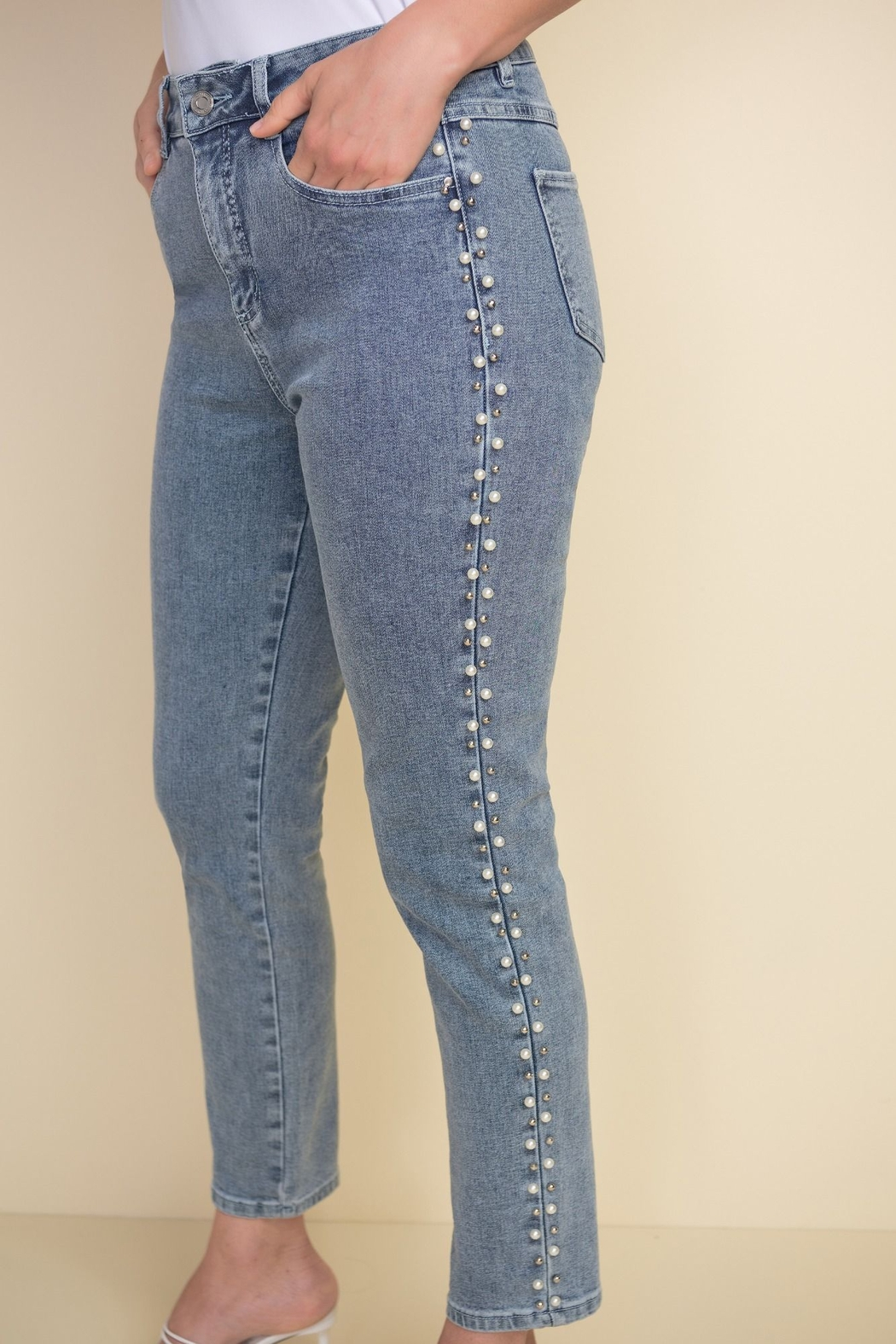 Joseph Ribkoff  Ankle length light denim jeans with beading on sides - Side Cropped Image