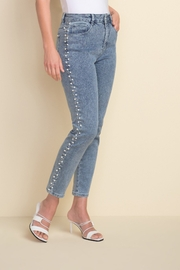 Joseph Ribkoff  Ankle length light denim jeans with beading on sides - Product Mini Image