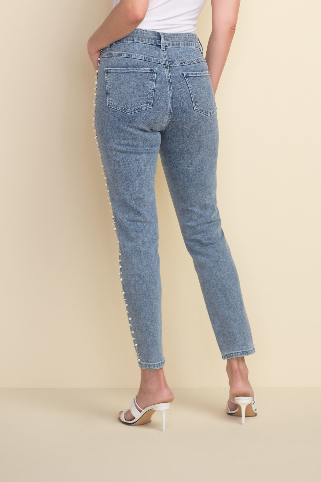 Joseph Ribkoff  Ankle length light denim jeans with beading on sides - Front Full Image