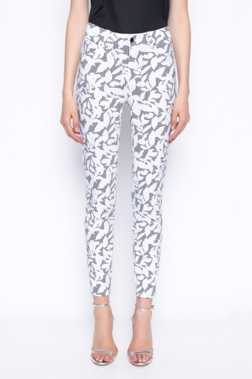tribal  Ankle Length Pants Printed With Gingham and Leaves - Front Full Image
