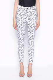 tribal  Ankle Length Pants Printed With Gingham and Leaves - Front full body