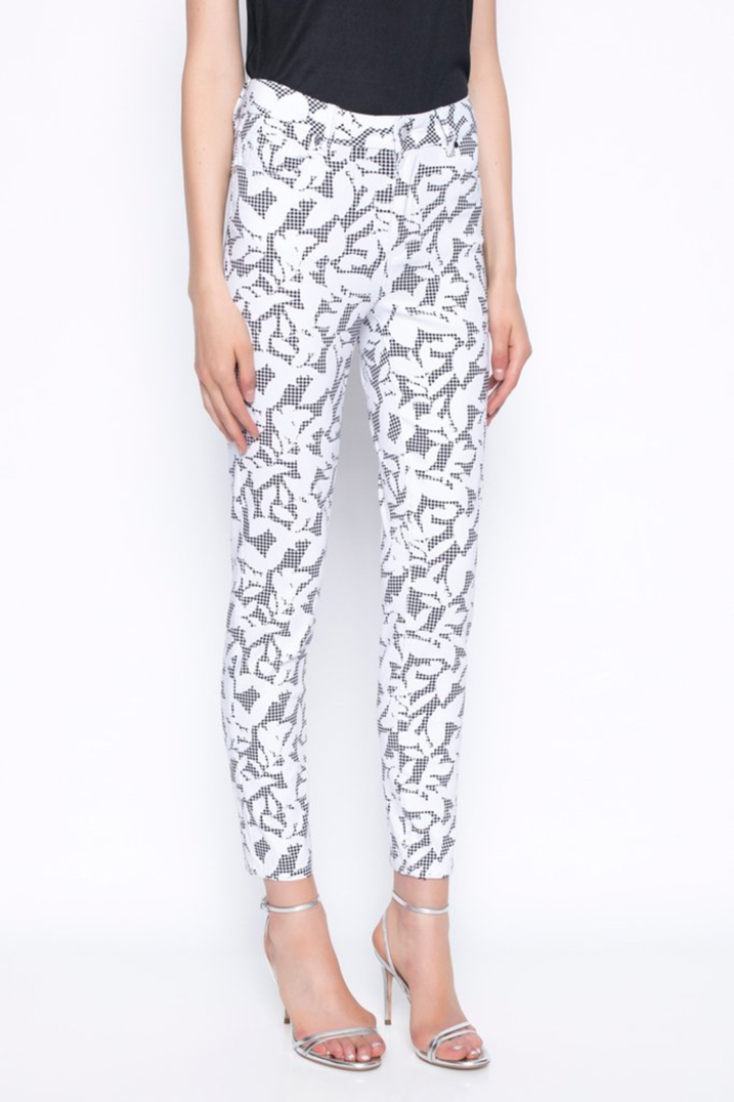 tribal  Ankle Length Pants Printed With Gingham and Leaves - Main Image