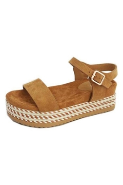 Bamboo Ankle-Strap Stripe Flatforms - Alternate List Image