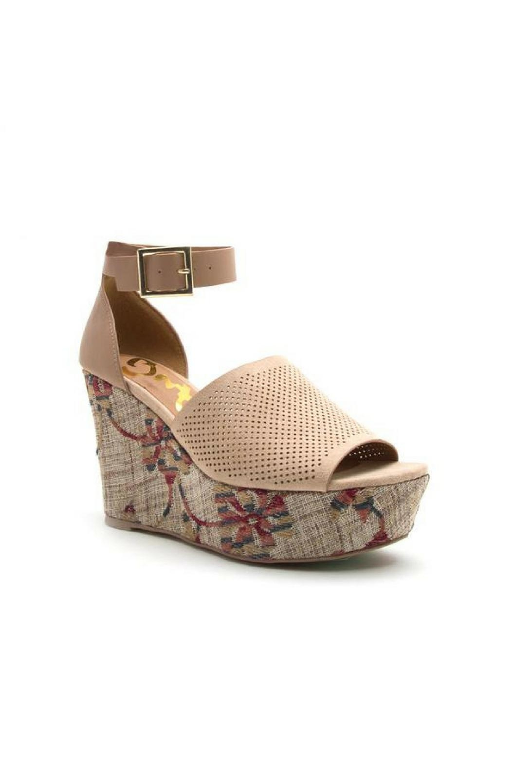 Qupid Ankle Strap Wedges - Main Image