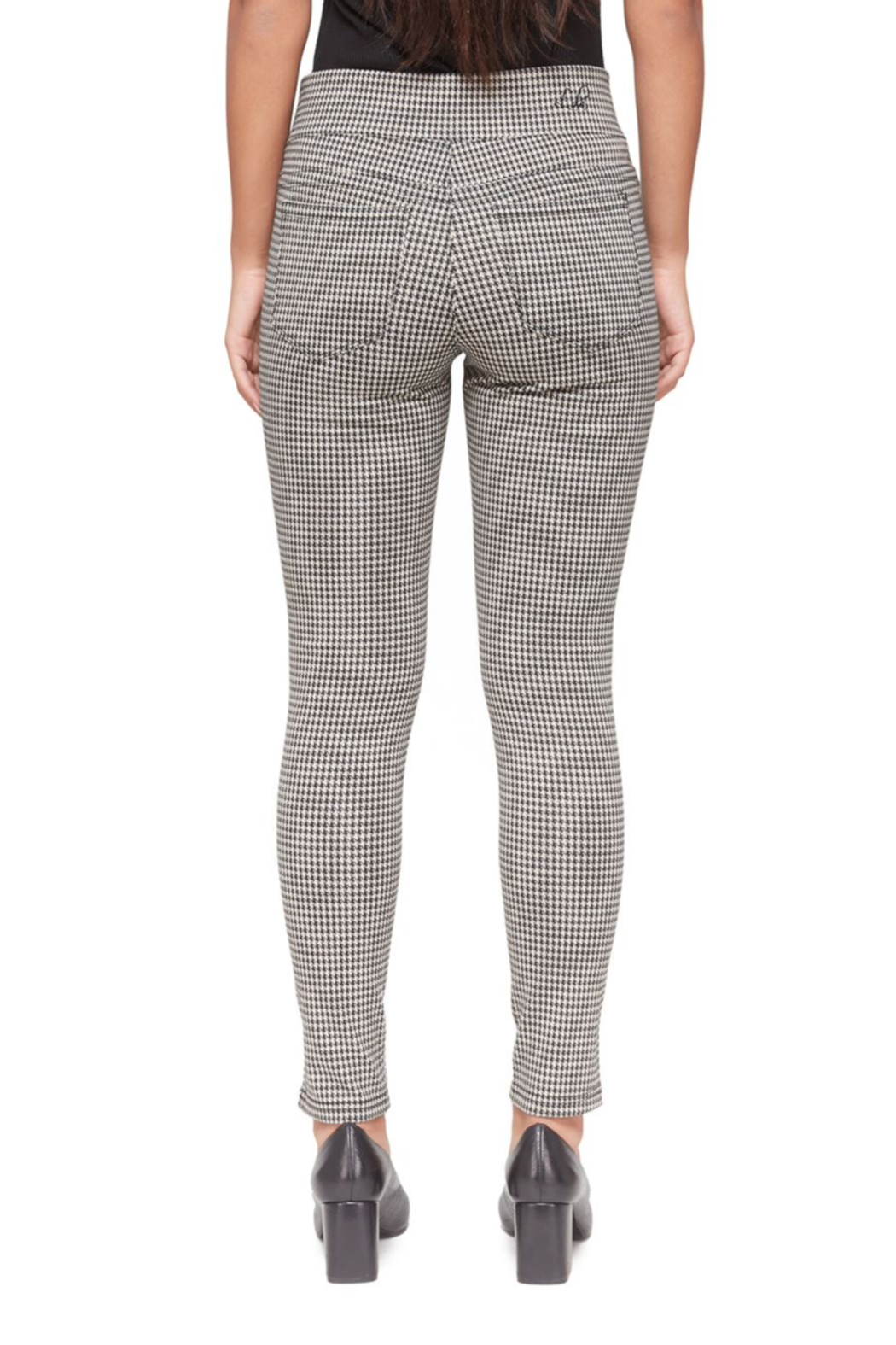 Lola Jeans Anna Houndstooth Jacquard Mid Rise Pant - Side Cropped Image