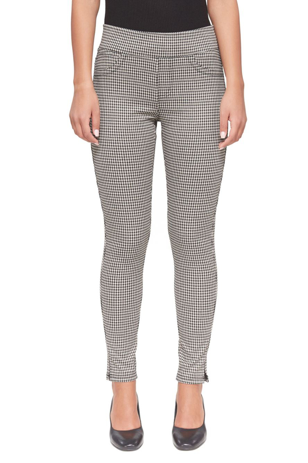 Lola Jeans Anna Houndstooth Jacquard Mid Rise Pant - Main Image