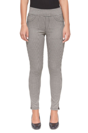 Lola Jeans Anna Houndstooth Jacquard Mid Rise Pant - Front cropped