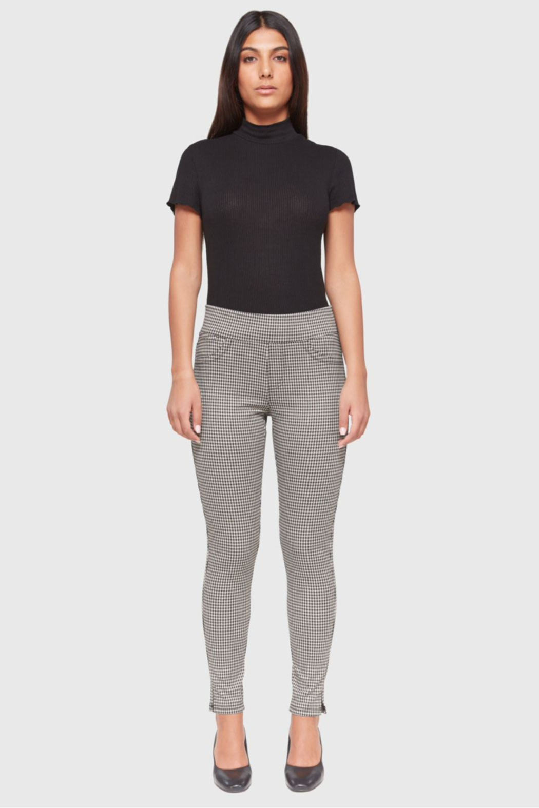 Lola Jeans Anna Houndstooth Jacquard Mid Rise Pant - Back Cropped Image