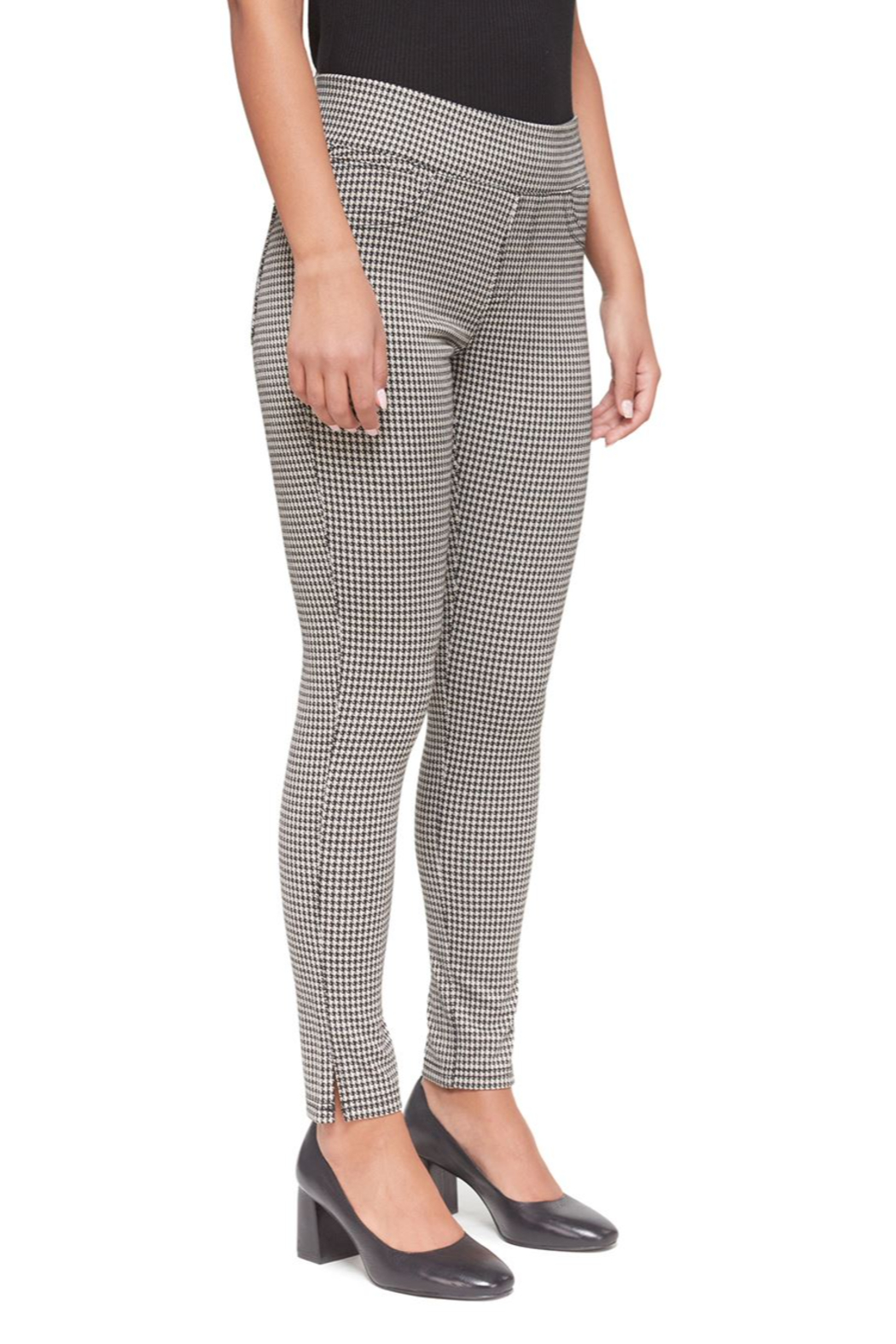 Lola Jeans Anna Houndstooth Jacquard Mid Rise Pant - Front Full Image