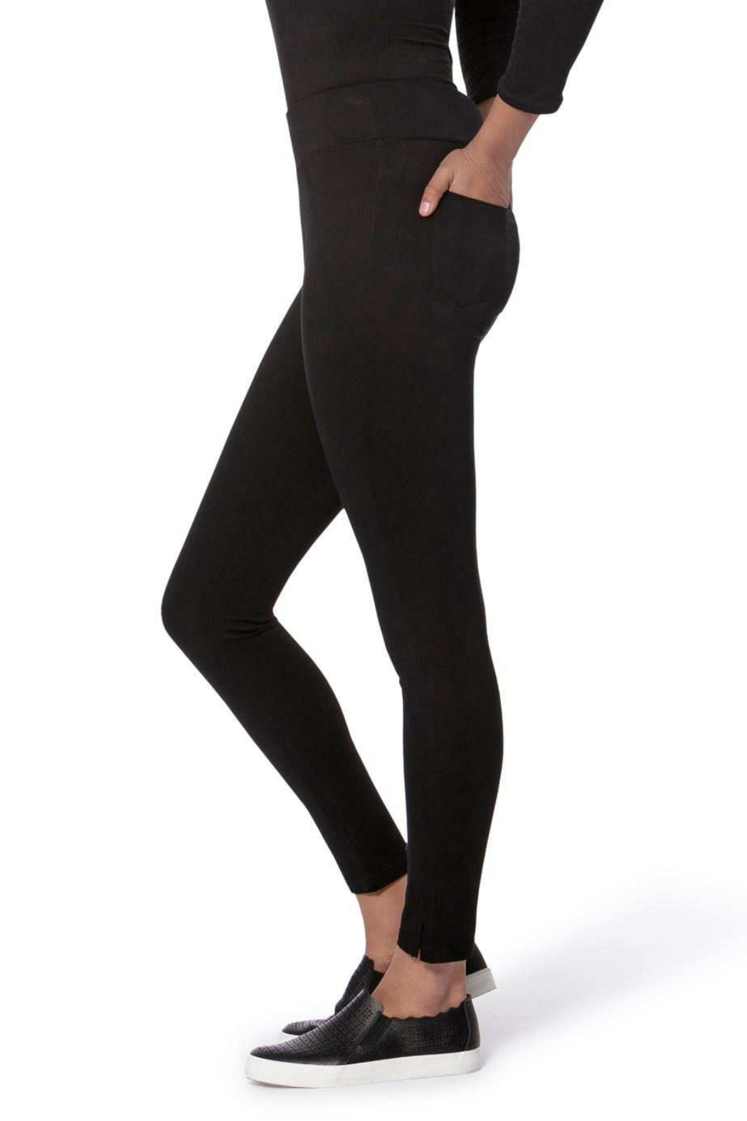 Lola Jeans Anna Mid Rise Pull on Skinny Pants - Front Full Image