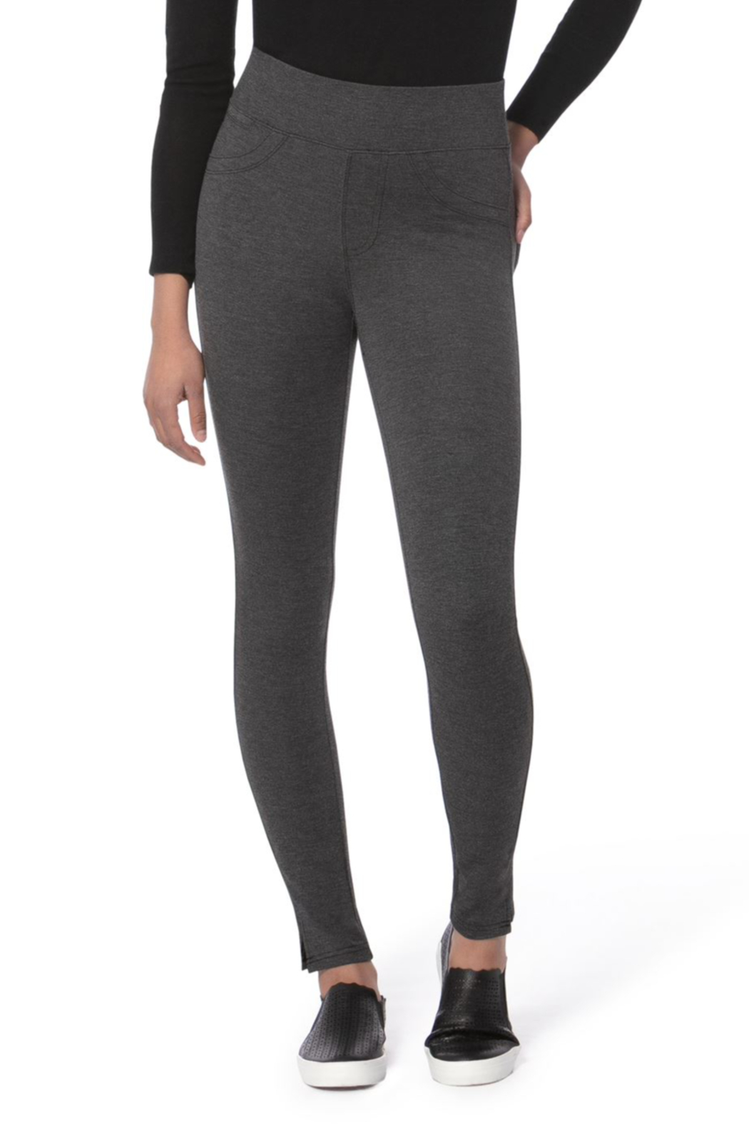Lola Jeans Anna Mid Rise Pull on Skinny Pants - Front Cropped Image