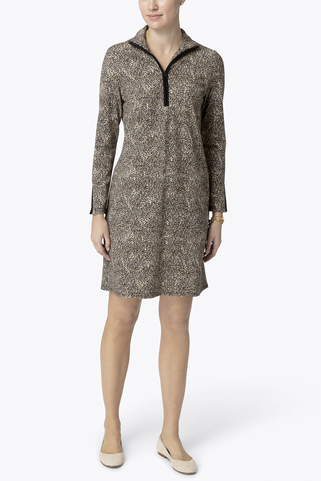Jude Connally Anna Textured Camel/Cheetah Ponte Dress - Back Cropped Image