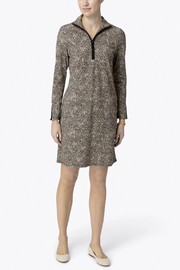 Jude Connally Anna Textured Camel/Cheetah Ponte Dress - Back cropped