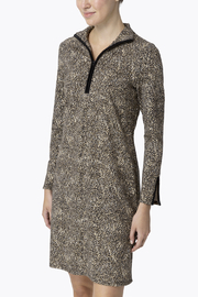 Jude Connally Anna Textured Camel/Cheetah Ponte Dress - Front cropped
