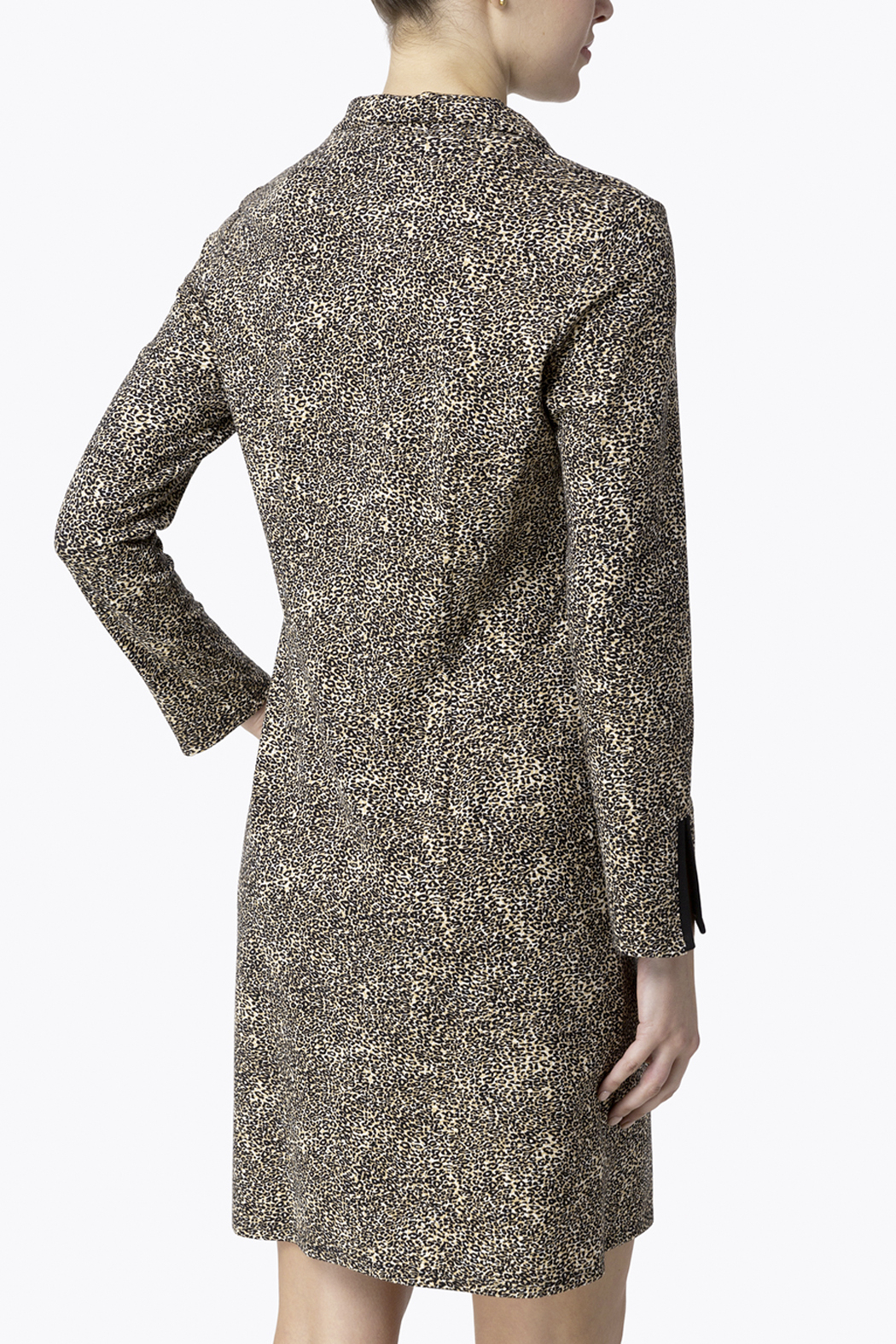 Jude Connally Anna Textured Camel/Cheetah Ponte Dress - Front Full Image