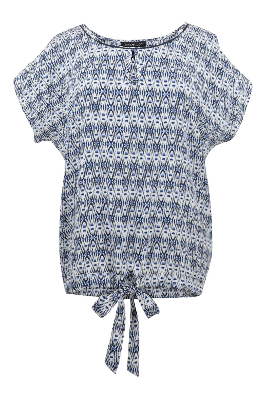 Anna Scott  Ikat Blue Blouse - Front Cropped Image