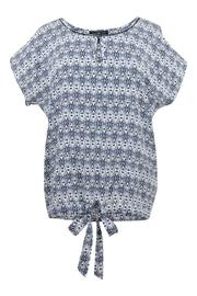 Anna Scott  Ikat Blue Blouse - Product Mini Image