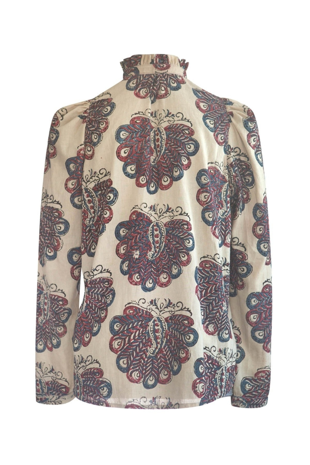 Alix of Bohemia Annabel Block Print Peacock Blouse (More Colors) - Side Cropped Image