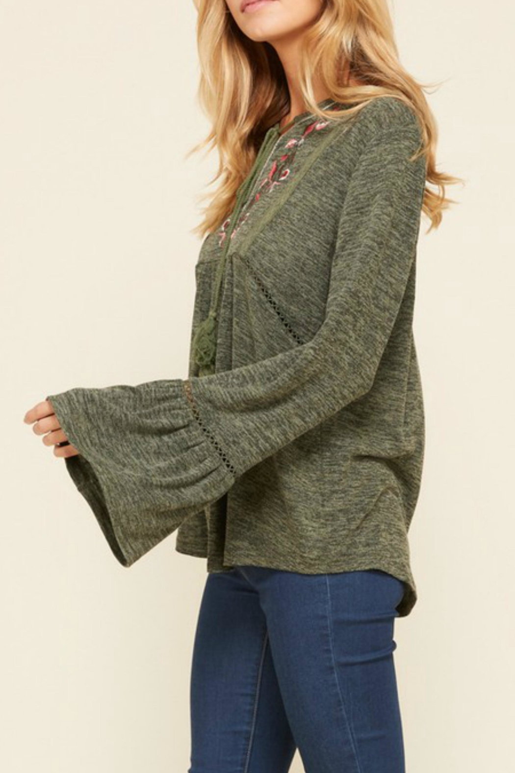 annabelle Embroidered Peasant Sweater - Front Full Image