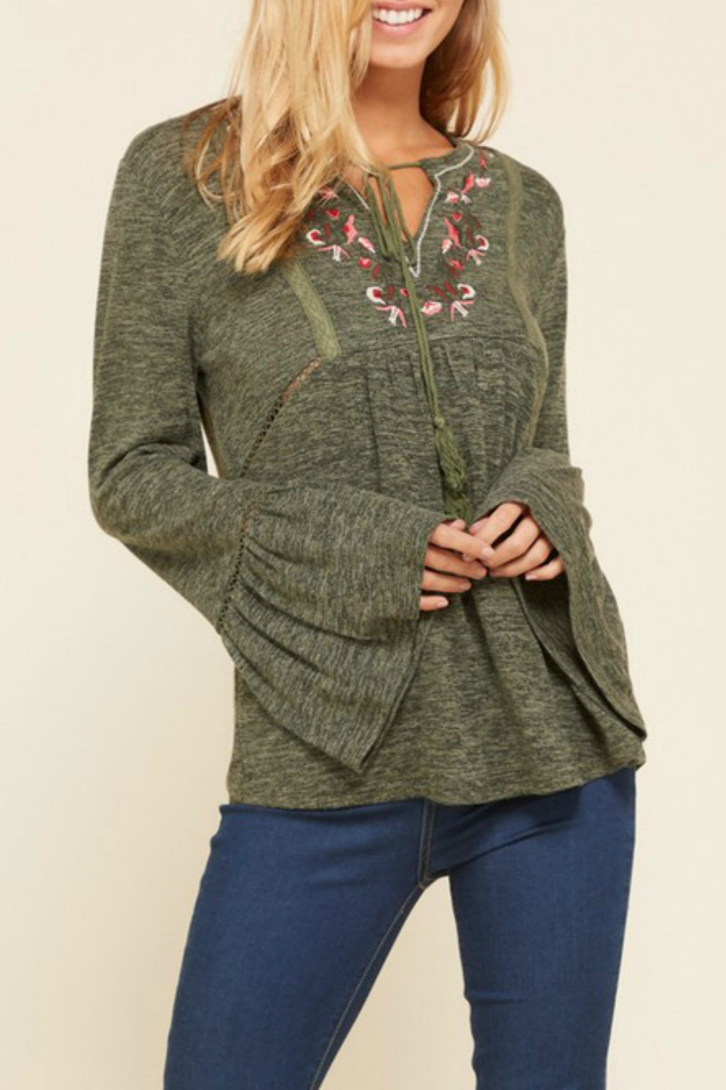 annabelle Embroidered Peasant Sweater - Side Cropped Image