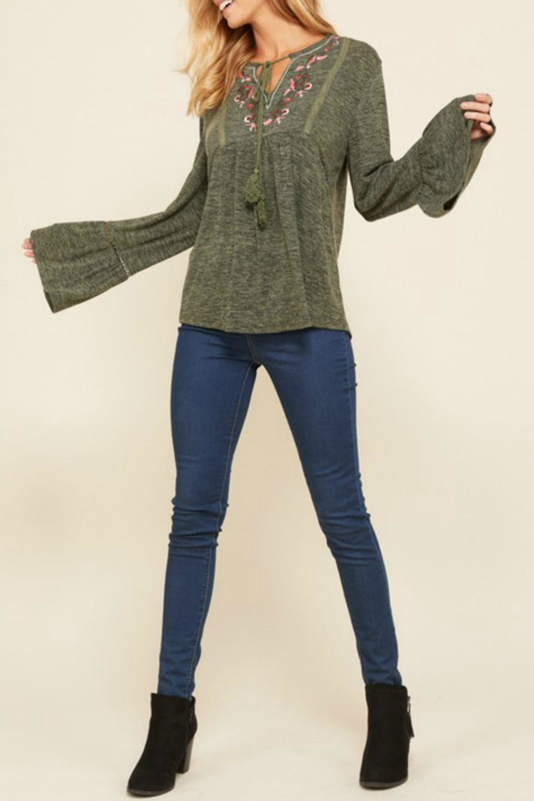 annabelle Embroidered Peasant Sweater - Main Image