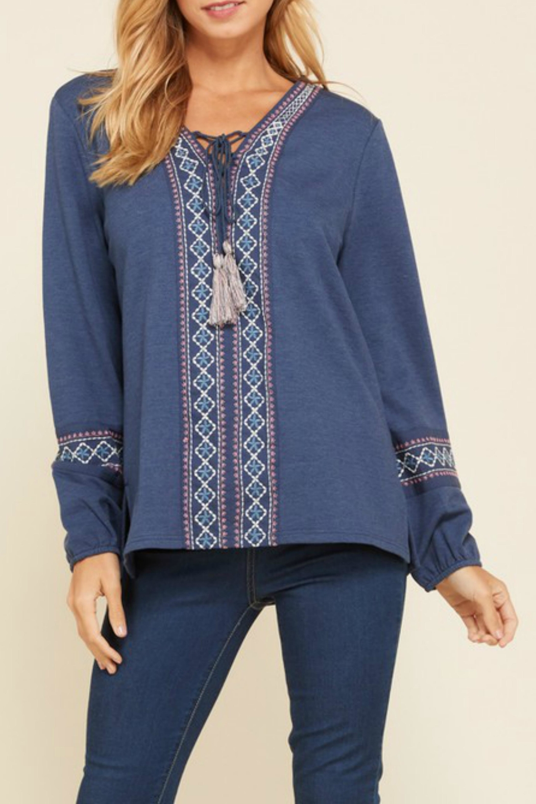 annabelle Embroidered Peasant Top - Main Image