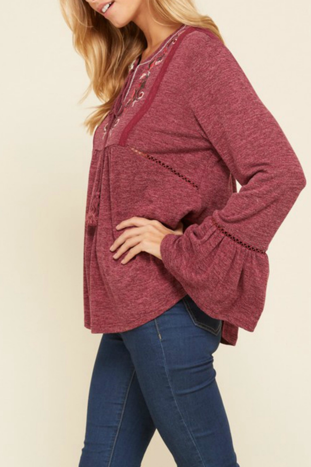 annabelle Embroidered Peasant Top - Side Cropped Image