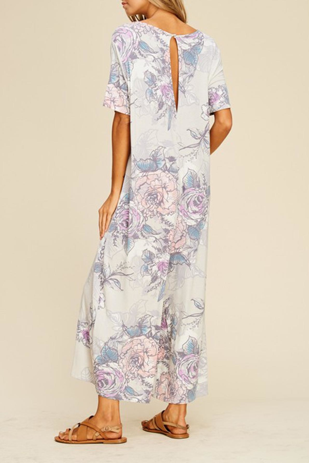annabelle Floral Knit Jumpsuit - Side Cropped Image