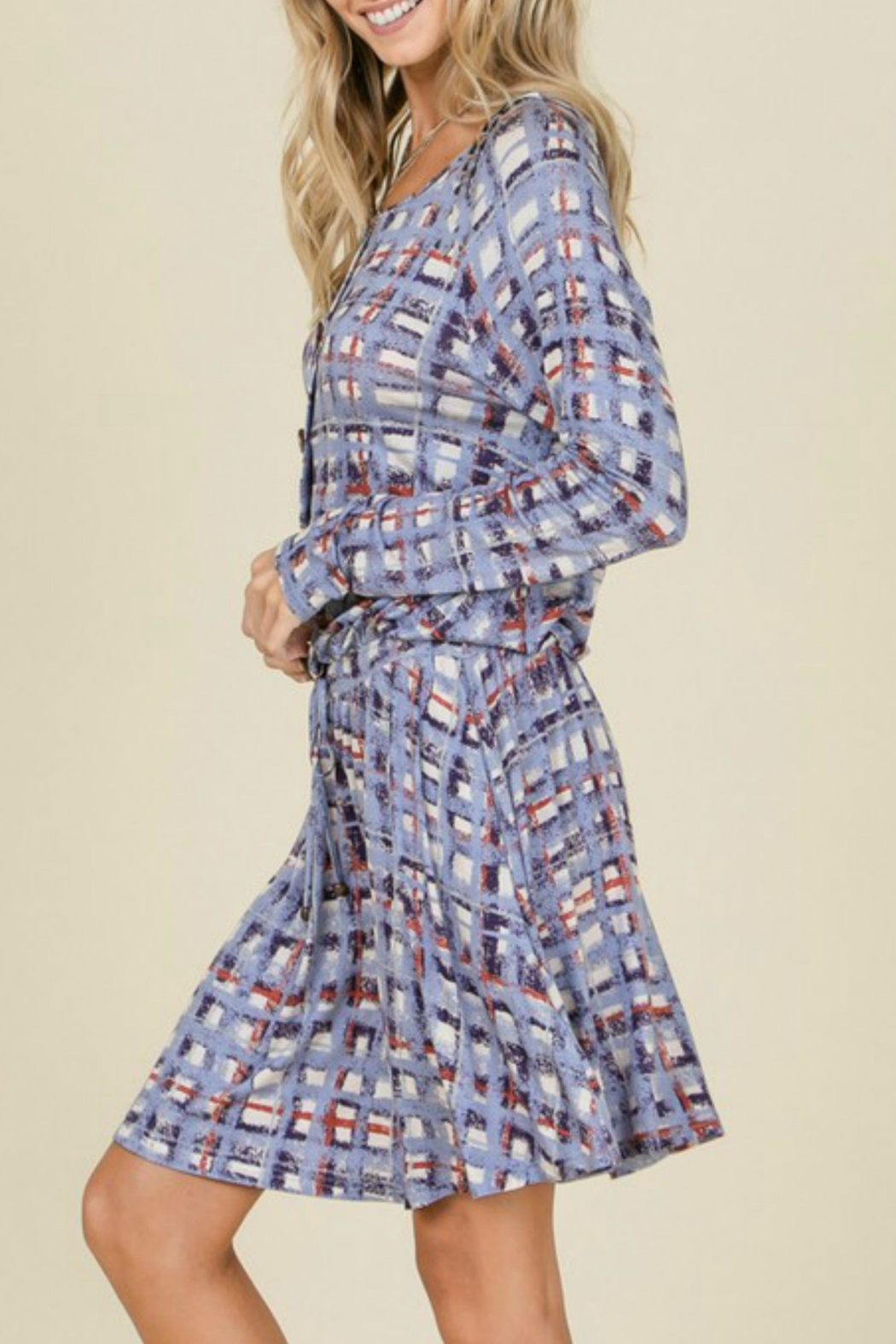 annabelle Plaid Tie Dress - Back Cropped Image