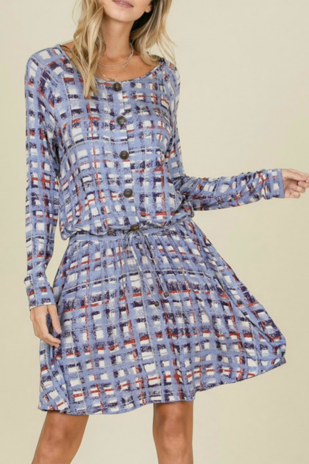 annabelle Plaid Tie Dress - Front Cropped Image