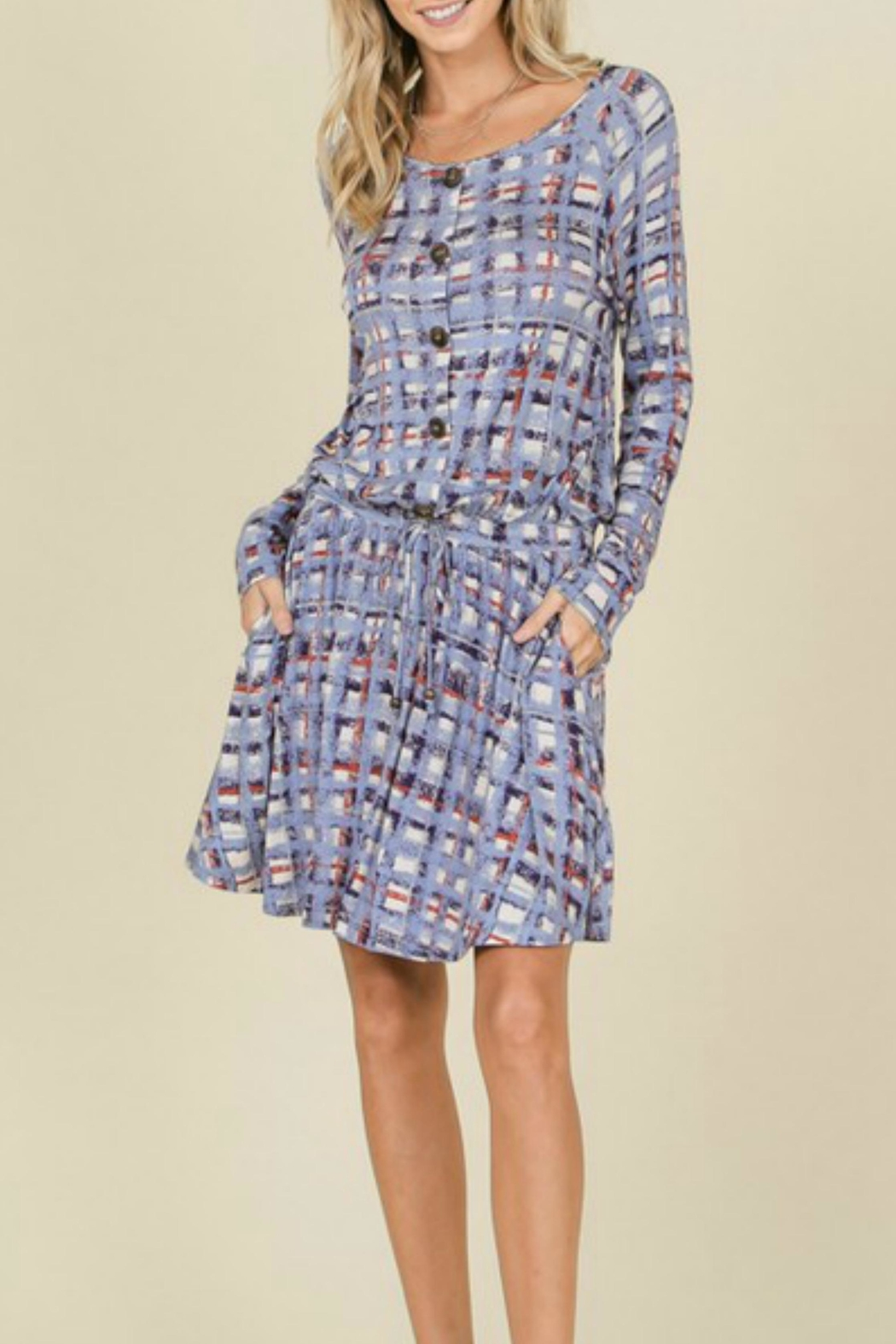 annabelle Plaid Tie Dress - Side Cropped Image