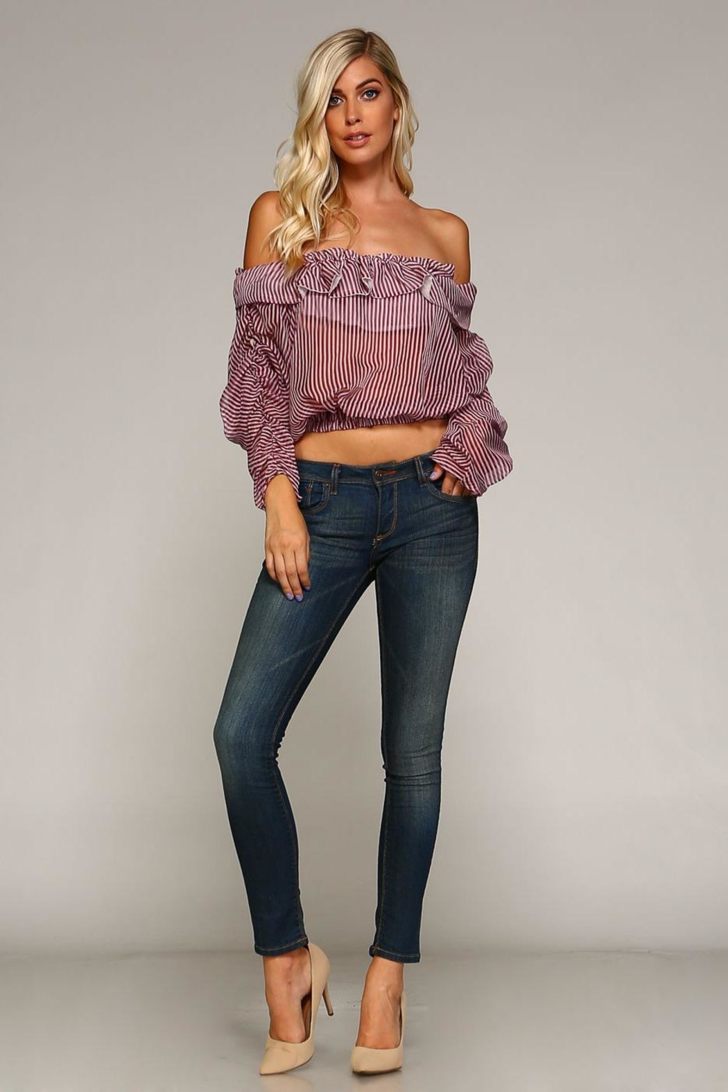 Racine Annabelle Ruffle-Stripe Top - Side Cropped Image