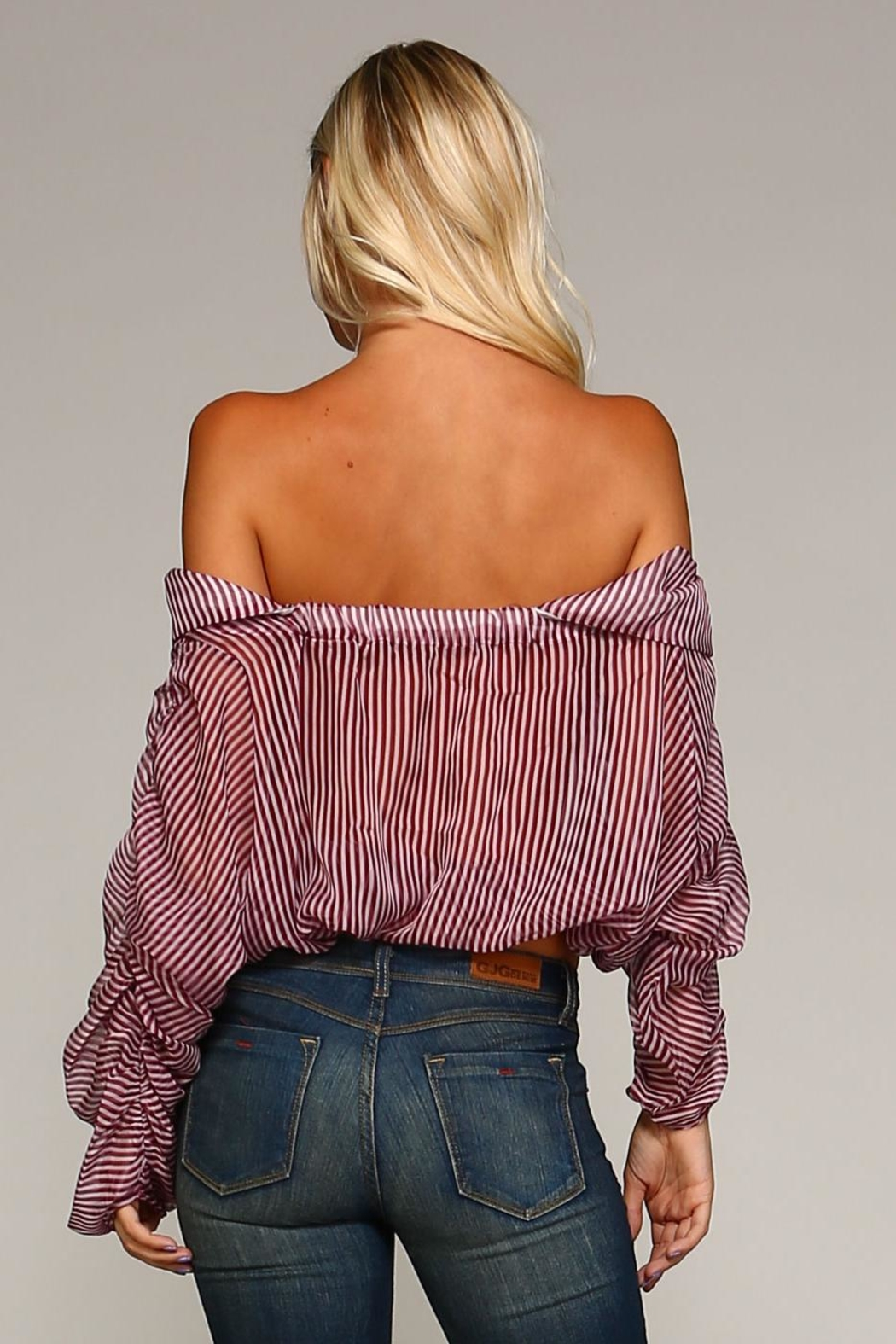 Racine Annabelle Ruffle-Stripe Top - Back Cropped Image