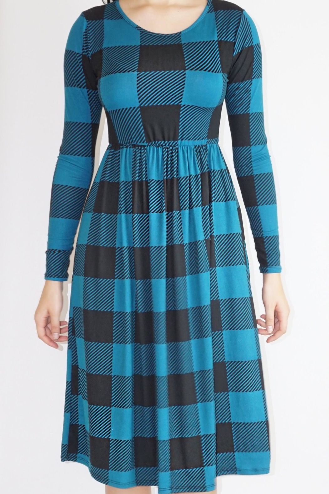 annabelle Teal Checkered Dress - Main Image