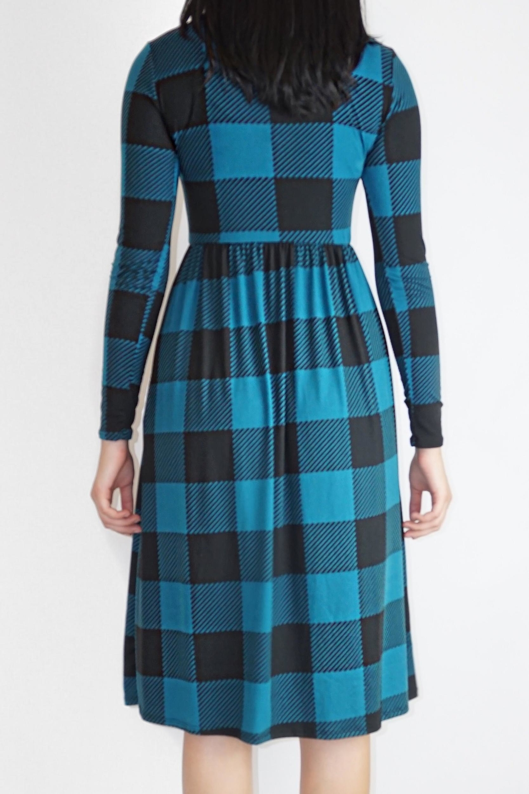 annabelle Teal Checkered Dress - Side Cropped Image