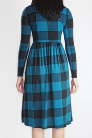 annabelle Teal Checkered Dress - Side cropped