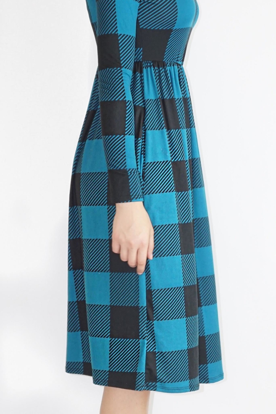 annabelle Teal Checkered Dress - Front Full Image